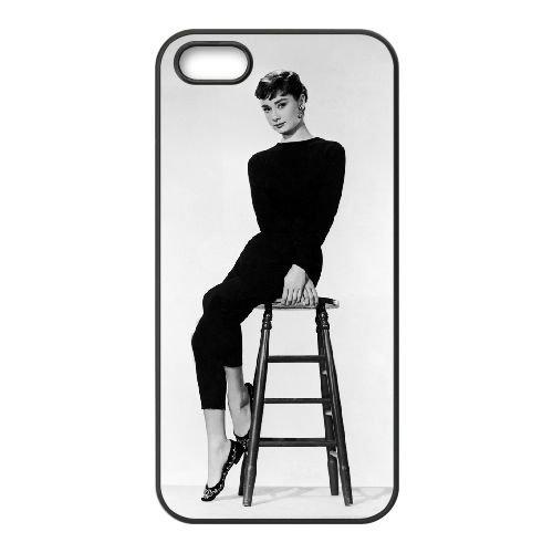 Audrey Hepburn 018 2 coque iPhone 5 5S cellulaire cas coque de téléphone cas téléphone cellulaire noir couvercle EOKXLLNCD21831
