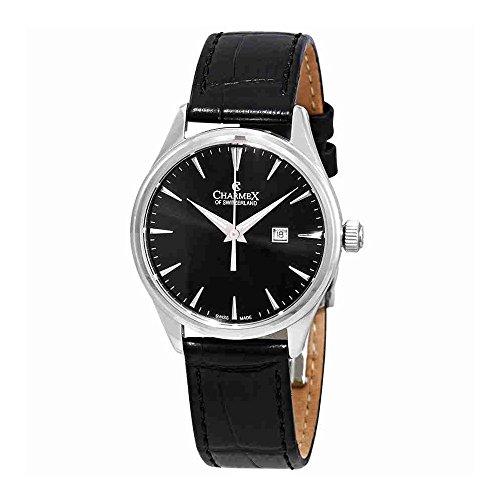 Charmex Black Dial Black Leather Ladies Watch 6387