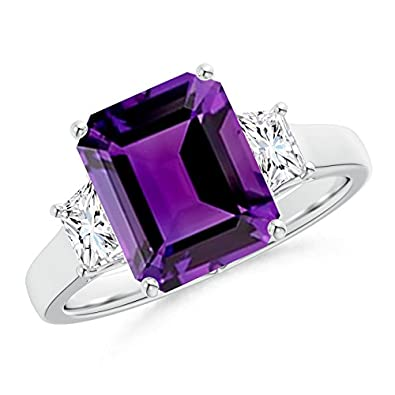 Angara Emerald-Cut Amethyst and Diamond Three Stone Ring in Platinum HLLuqPcw