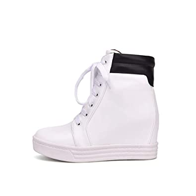 fdadde6335c Btrada Women Hidden Wedge High Heel Sport Shoes High Top Female Casual Height  Increasing Sneakers Black