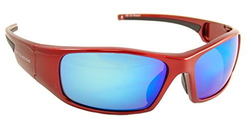 Optic Edge Breach Shiny Aluminum Red Frame and Ice Blue Mirror Lens