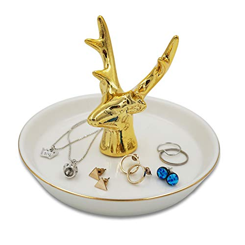 mono living Deer Ring Holder Antlers Tower Golden Dish for Jewelry Necklaces Bracelet Earnings Key Trinket Tray Organizer Birthday Gift Girlfriend Mother Daughter Friend Her Couple Lover Ladies Women ()