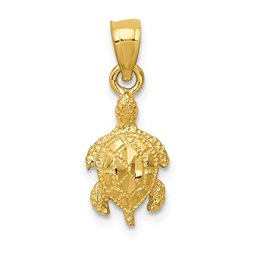 14k Yellow Gold Turtle Pendant Charm Necklace Sea Life Fine Jewelry For Women Gift Set - Silver 9mm Cute Leaf Charms