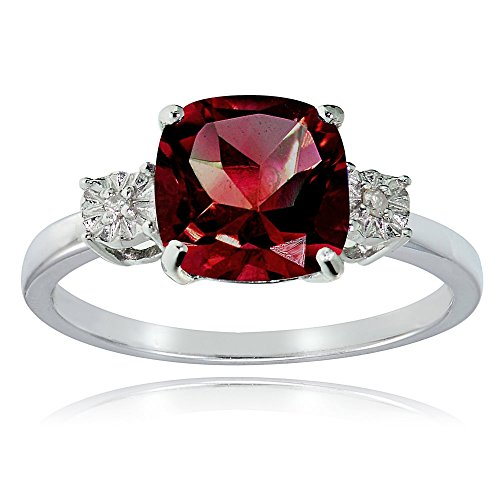 Sterling Silver Created Ruby Red and Cushion-cut Ring, Size 5 (Ruby Cushion Cut)