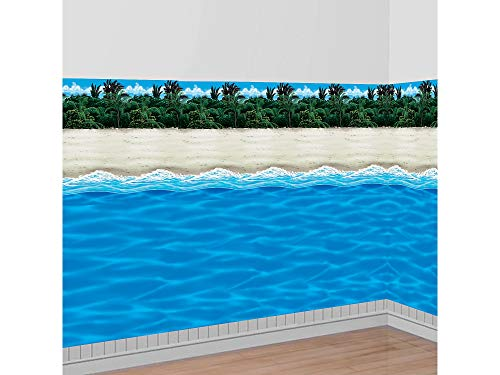 Party City Sunny Beach Scene Setter Supplies, Include an Ocean Room Roll and a Beach Room Roll, Cut to Fit Your Space (Palm Tree Room Roll)