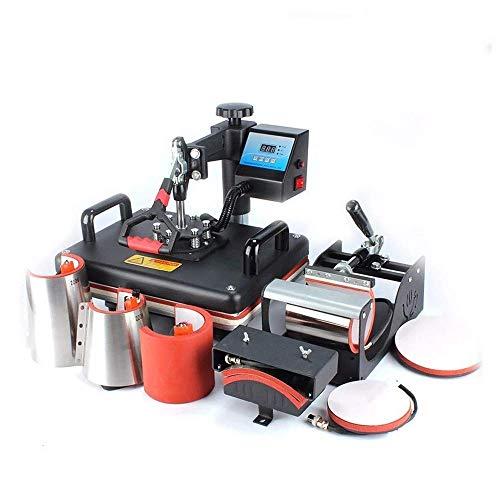 8 in 1 Digital Heat Press Machine Combo Heat Transfer Sublimation Print Machine T-Shirts/Mug/Plate/Cap/Cup Swing Away Heat Transfer Machine ...