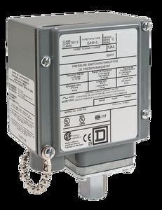 Square D 9012GAW5 Single-Stage Diaphragm-Actuated Pressure Switch, 3-150 psi Press. Range, NEMA 4, 4X, and 13 Enc., 1/4''-18 NPTF Press. Connection, SPDT Contacts