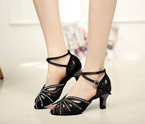 Women's TDA Mid Satin Heel Black Shoes QJ7038 Dance Crystals r5BxOrgn