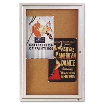 QUARTET Enclosed Bulletin Board, Natural Cork/Fiberboard, 24 x 36, Aluminum Frame (Case of 2)