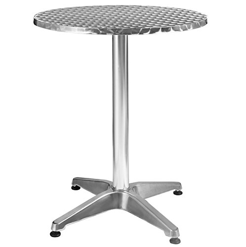 Round Table Aluminum Stainless Steel Solid Construction Patio Garden Outdoor Indoor Use Pub Bar Restaurant Kitchen Furniture Adjustable Height