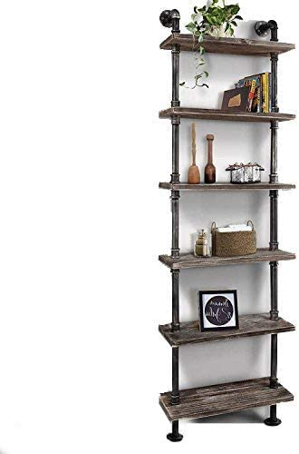 Deal of the week: WGX Design For You Industrial 6-Tiers Modern Ladder Shelf Bookcase ,Wood Storage Shelf,Display Shelving