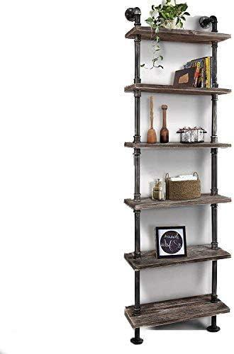 WGX Design For You Industrial 6-Tiers Modern Ladder Shelf Bookcase ,Wood Storage Shelf,Display Shelving