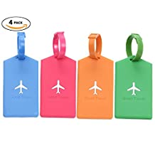 Bulk Luggage Tags, Identifiers Labels for Travel Suitcases, Cruise Baggage Silicone Tag Set 4 Pack