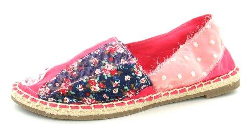 Spot On Flat Espadrille Shoe Lace Floral Fuchsia