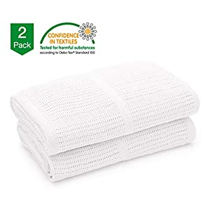 Bloomsbury Mill – Twin Pack – 100% Pure Organic Cotton – Extra Soft Cellular Baby Blankets – Pram/Travel/Moses Basket…