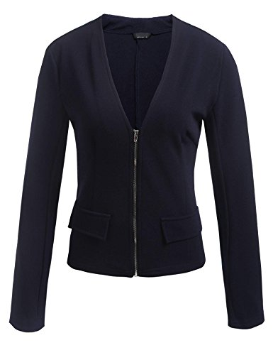 SE MIU Women's Casual Work Office Zipper Front Blazer Jacket Made in USA Blue - Miu Usa Miu