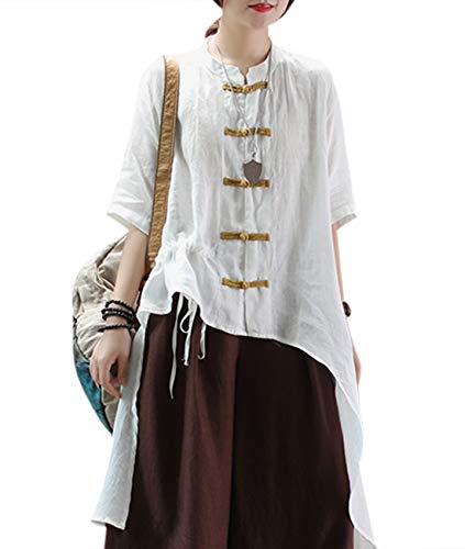 (YESNO Women Irregular Curved Tail Hemline w/Drawstring on Right Front Half Sleeve Chinese Qipao Shirts Long Maxi Summer Linen Blouse Y0D)