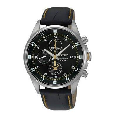 Seiko - SNDC89P2 - Men's Watch - Quartz Chronograph - Black Dial - Black Leather Strap (Chronograph Seiko)