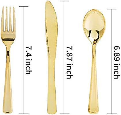 300 Piece Gold Plastic Silverware Set 75 Spoons Weddings /& Catering Events Nervure Disposable Gold Flatware 150 Forks Perfect for Parties Heavyweight Gold Cutlery 75 Knives