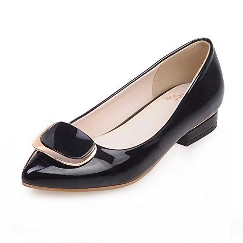 Damen Spitz Zehe Niedriger Absatz Weiches Material Rein Ziehen auf Pumps Schuhe, Schwarz, 41 AgooLar