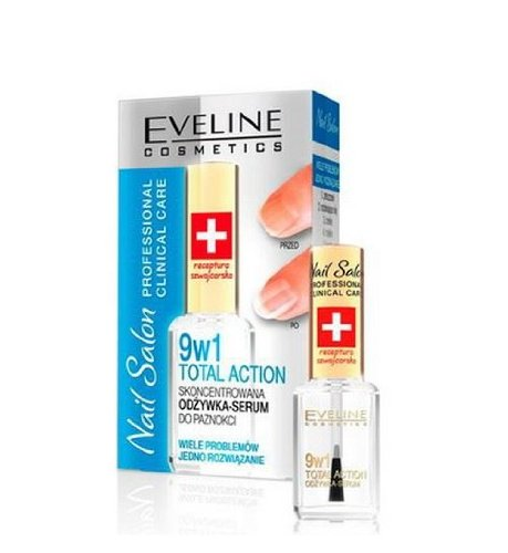 EVELINE COSMETICS nail salon (swiss recepture) 9 in1 total action concentrated nail conditioner 12ml.