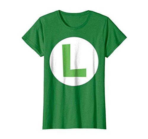 Womens Nintendo Super Mario Luigi Icon Costume Graphic T-Shirt Medium Kelly (Female Super Mario Costumes)