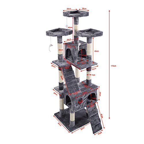 66'' Cat Tree Tower Condo Furniture Scratching Post Pet Kitty Play House (Gray) by Anumochi (Image #1)