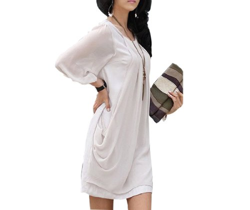 Little Hand Womens Casual Sexy Summer Pleated Prom Chiffon Sundress Mini Dress