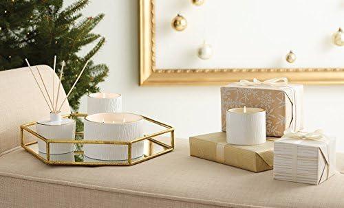 Frasier Fir Ceramic Pillar Candle Trimmed with 24-Karat Gold Thymes 14 Ounces 100 Hour Burn Time