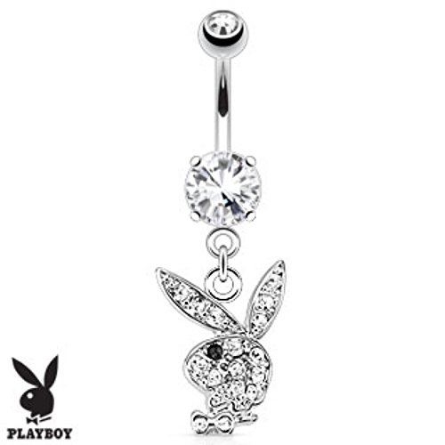 Multi Paved Gems on Playboy Bunny Dangle 316L Surgical Steel Navel Ring (Sold by Piece) (Bunny Rings Belly Button)