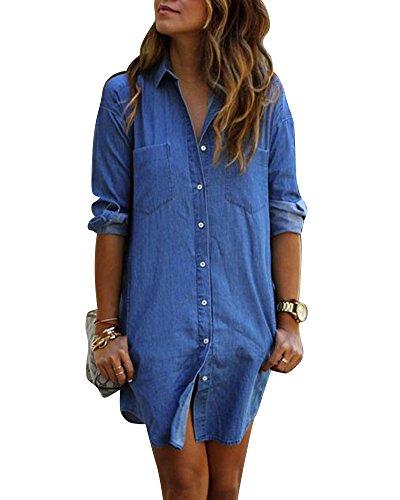 purchase cheap abaef f5cca Vestido vaquero casual con mangas largas camiseta vaquera suelta de las  mujeres Como La Imagen Venta Ebay Liquidación