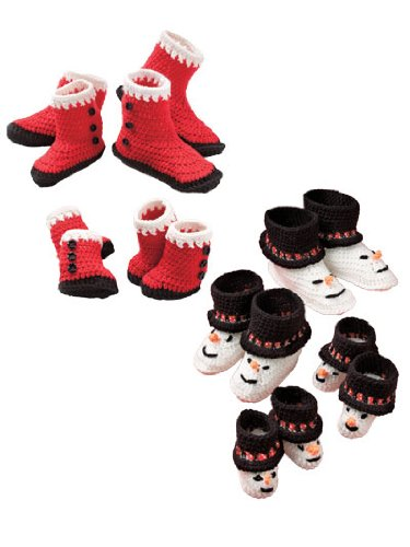 Santa and Snowman Booties for Babies and Kids Crochet Pattern ()