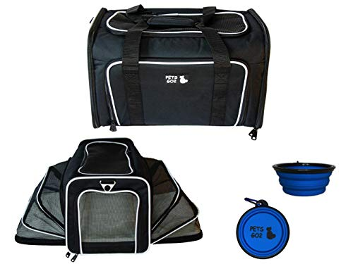 PETS GO2 Pet Carrier for Dogs & Cats | Best Airline-Approved Dog Travel Bag for Pet Safety & Security | Adjustable Carrier Size for a Small. Medium, or Large Dog, Cat, Bird, or Guinea Pig | Blk -White