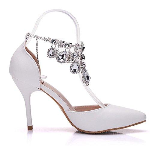 Boda Nupcial Sandalias Tobillo Correa Mujer Alto Tacón Diamante de imitación Vestir Noche Primavera Puntiagudo Blanco Señoras Corte Zapatos Cordón Zapatillas tamaño 35-41 White