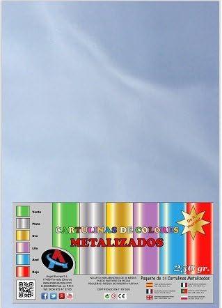 Pack 24 Cartulina Metalizada A4 Plata: Amazon.es: Hogar