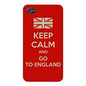 Apple Iphone Custom Case 4 4s White Plastic Snap on - Keep Calm and Go to England w/ British UK Flag