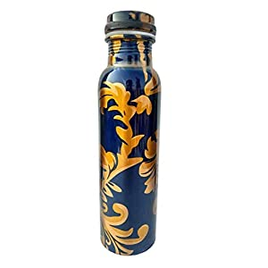 RUDHRA Pure Copper Modern Art Printed with Outside Lacquer Copper Water Bottle for Travelling Purpose,Gym,Yoga Ayurveda…