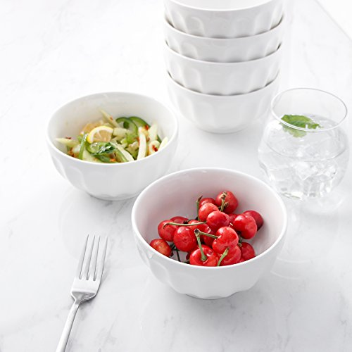 Sweese 1108 Porcelain Fluted Bowl Set - 26 OZ Deep and Microwavable for Cereal, Soup - Set of 6, White by Sweese (Image #4)
