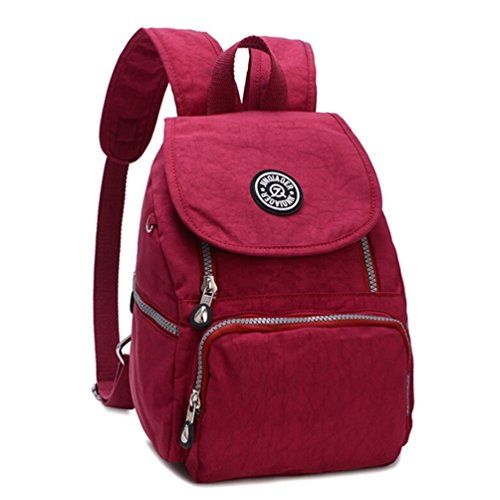 Logo Mini Backpack (Tiny Chou Mini Waterproof Nylon Backpack Casual Lightweight Strong Daypack (Red))
