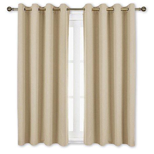 NICETOWN Bedroom Curtains Room Darkening Draperies - Cream Beige Room Darkening Drapes/Panels for Bedroom, Grommet Top 2-Pack, 52 x 63 Inch Long, Thermal Insulated, Privacy Assured