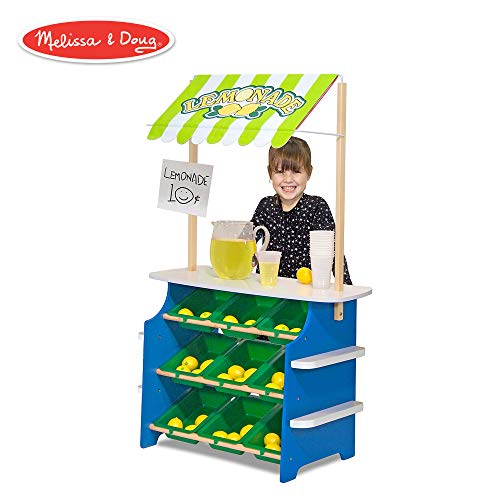 Flip Math Activity Book - Melissa & Doug Grocery Store/Lemonade Stand (Play Food, Wooden Play Center, Portable Plastic Bins, Sturdy Construction, 50