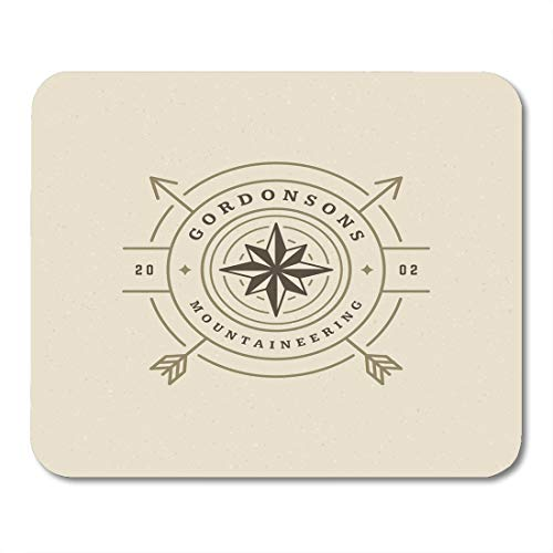 Boszina Mouse Pads Camp Expedition Emblem Outdoor Adventure Leisure Compass Silhouette Stamp Vintage Badge Design Camper Mouse Pad for notebooks,Desktop Computers mats 9.5
