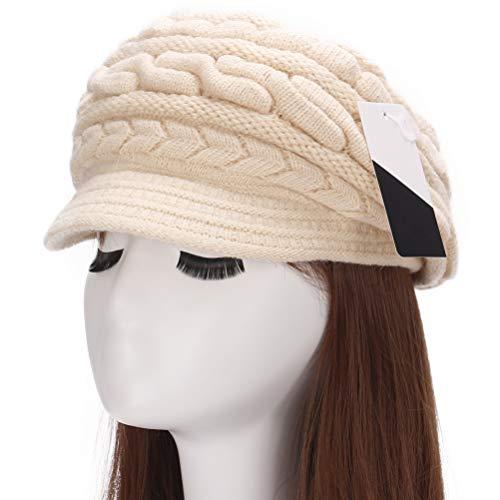 e5bba43fa91 Muryobao Women s Winter Warm Hat Crochet Slouchy Beanie Knitted Caps with  Visor