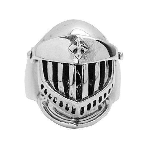 Bishilin Men's Ring Silver Plated Skull Helmet Friendship Rings Silver Size 12.5 by Bishilin