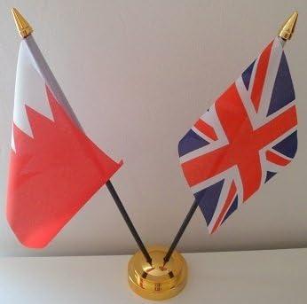 Bahrain Union Jack 2 Flag Friendship Table Display With Gold Base