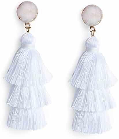 Me&Hz Colorful Layered Tassel Earrings Bohemian Dangle Drop Tiered Tassel Druzy Stud Earrings Women Gifts