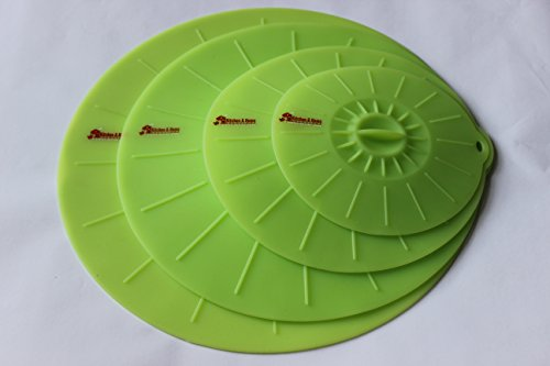 BPA Free Professional Grade Silicone Suction Seal Lids - Set of 4 - Eco-Friendly: Reusable & Stackable - Set of 4