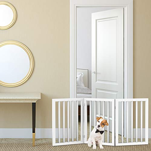PETMAKER Freestanding Pet Gate 4 Panel Cream