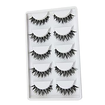 2f5f6a1628c Amazon.com : Infgreate Christmas Beauty Tools 5 Pairs Natural Long Cross False  Eyelashes Makeup Fake Thick Black Eye Lashes : Beauty
