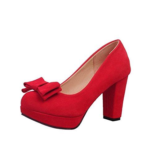 Mee Shoes Damen modern süß bequem runder toe mit Schleife Nubukleder Geschlossen Plateau Pumps mit hohen Absätzen Rot